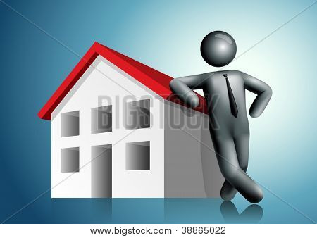 3d vector man leaning house. All elements are layered separately in vector file. Mesh used EPS10 file.