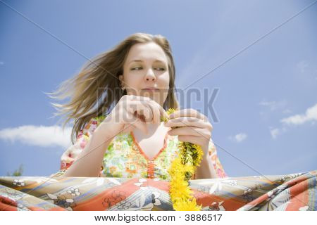 Hippie Woman With Flowers