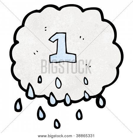 cartoon raincloud with number one