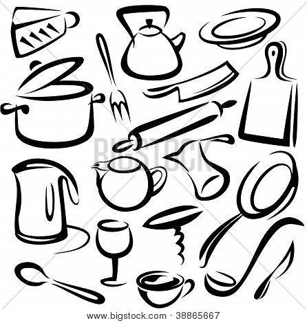 Big Set Of Kitchen Tools, Vector Sketch