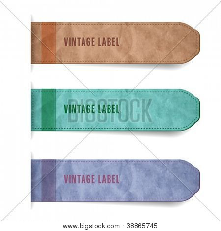 Vector labels with old paper texture