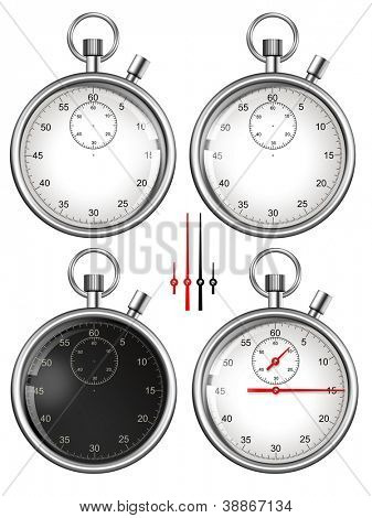 Set of stopwatches and parts ready for your design. Illustration.