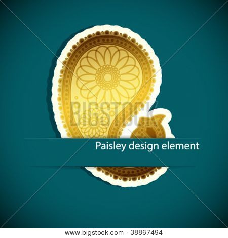 Paisley background. Design element inserted into a slot on the paper card. Vector illustration.