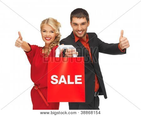bright picture of man and woman with shopping bag