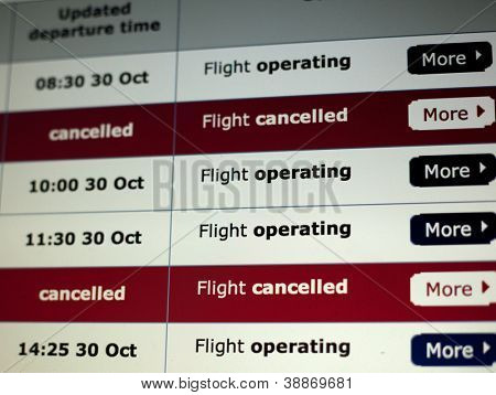 Flight cancellations listed on an airline website.