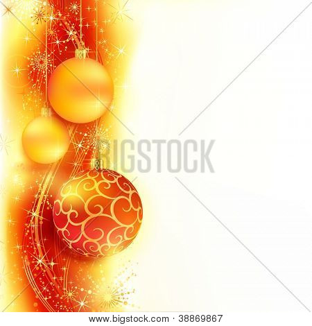 Border with red and golden Christmas balls hanging over a red, golden wavy pattern with stars and snow flakes on a white background. Bright, vivid and festive for the Christmas season to come.