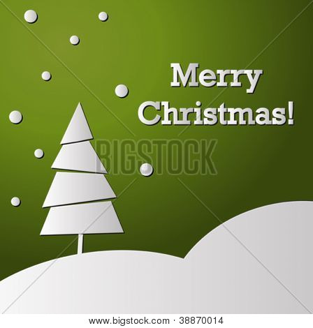 Green holiday card with Christmas tree made from white paper