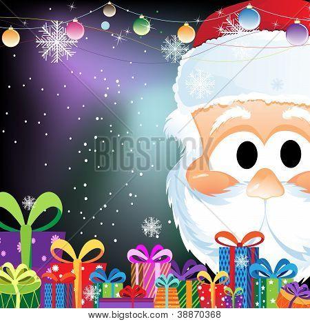 Santa Claus And Gift Boxes