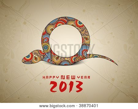 Happy New Year background with 2013 new year symbol snake.