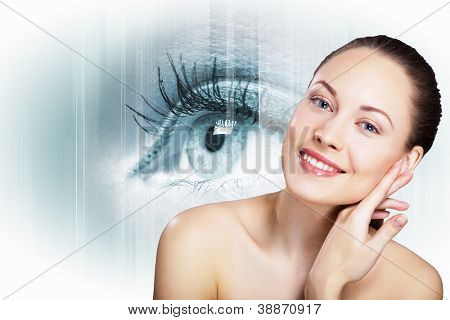 Human eye and woman face on white background
