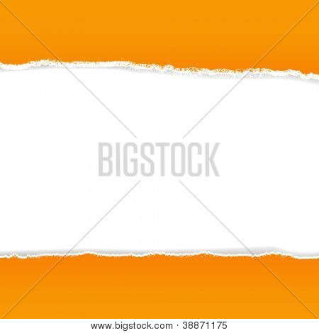 Orange Rip Paper With Gradient Mesh, Vector Illustration