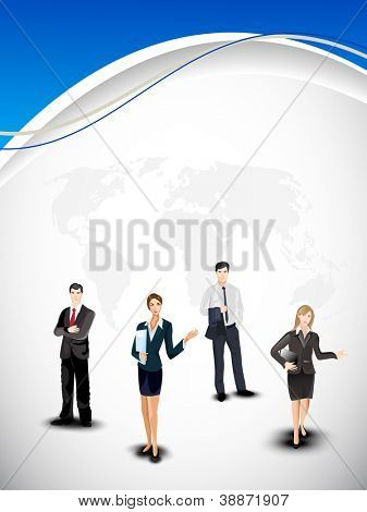 Business persons on abstract world map background. EPS 10.