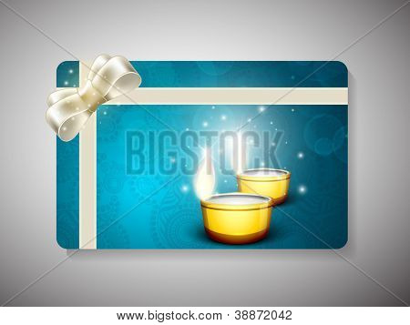Gift card for Deepawali or Diwali festival in India. EPS 10.