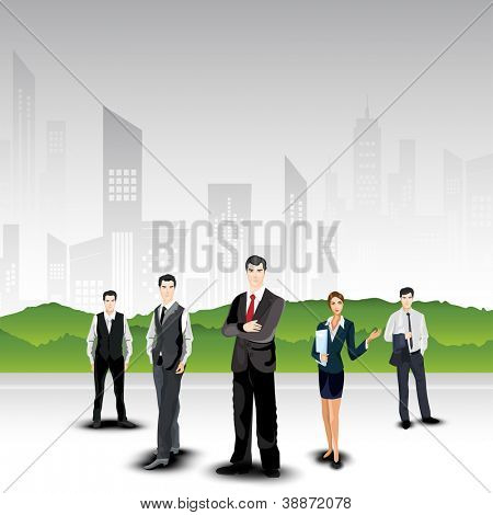 Business persons on abstract urban city background. EPS 10.