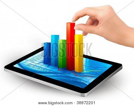 Tablet screen with graph and a hand. Raster version of vector.