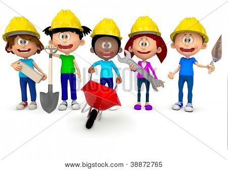 3D kids working in construction and wearing helmets - isolated over white