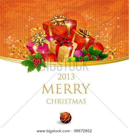 Christmas and New Year. Vector greeting card template.