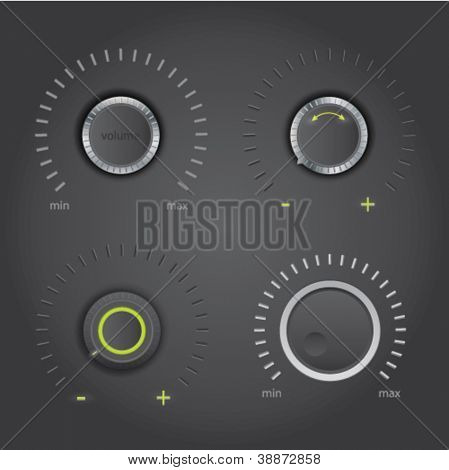 Volume control knob set - dark design, vector
