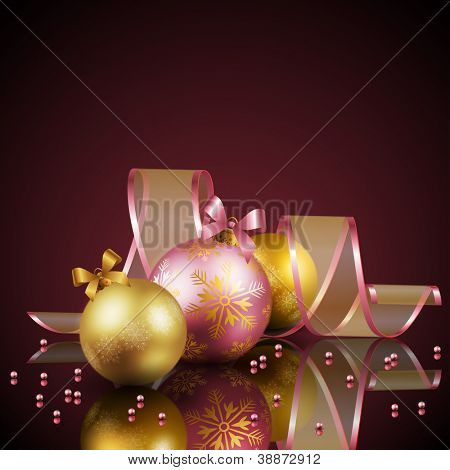 Christmas background with balls. Check my portfolio for vector version.