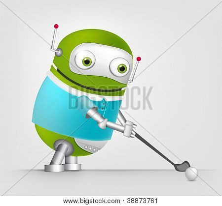 Cartoon Character Cute Robot Isolated on Grey Gradient Background. Hockey. Vector EPS 10.