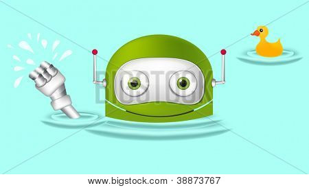 Cartoon Character Cute Robot Isolated on Grey Gradient Background. Swimmer. Vector EPS 10.