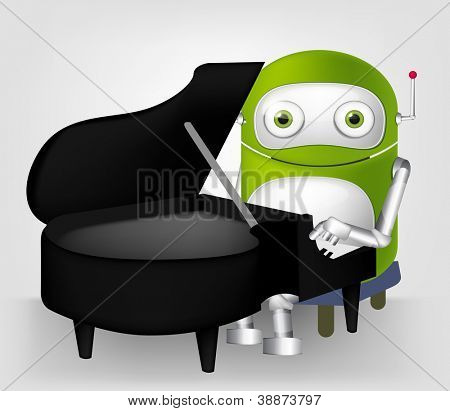 Cartoon Character Cute Robot Isolated on Grey Gradient Background. Pianist. Vector EPS 10.