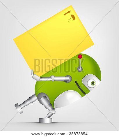 Dibujos animados carácter lindo Robot aislado en fondo gris degradado