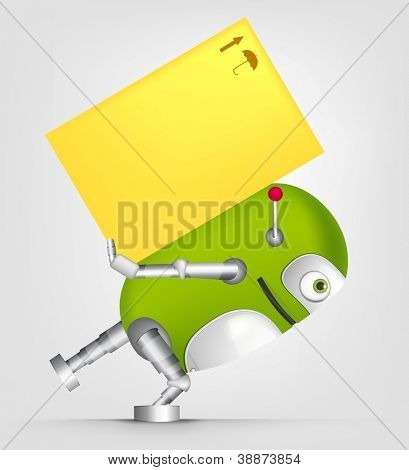 Cartoon personagem robô bonito isolado no fundo cinza degradê