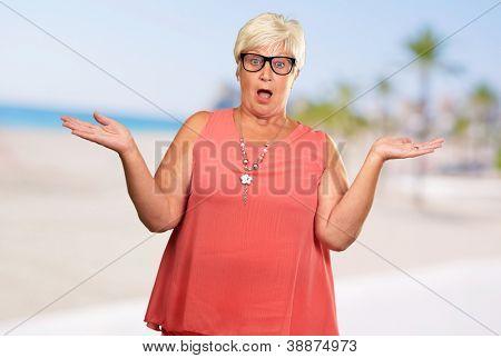 Portrait Of A Surprise Mature Woman, Outdoor