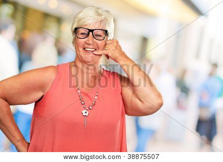 Portrait Of A Senior Woman Gesturing, Indoor