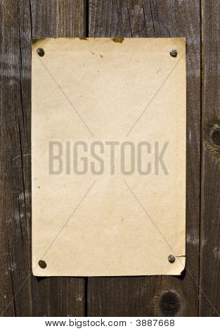 Old Style Retro Paper On Wooden Wall
