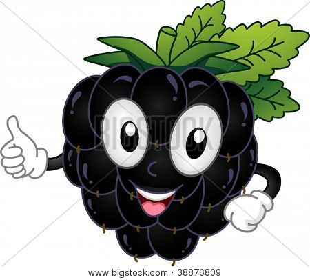 Mascot Illustration Featuring a Blackberry Doing a Thumbs Up