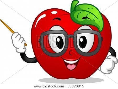 Mascot Illustration Featuring an Apple Teaching