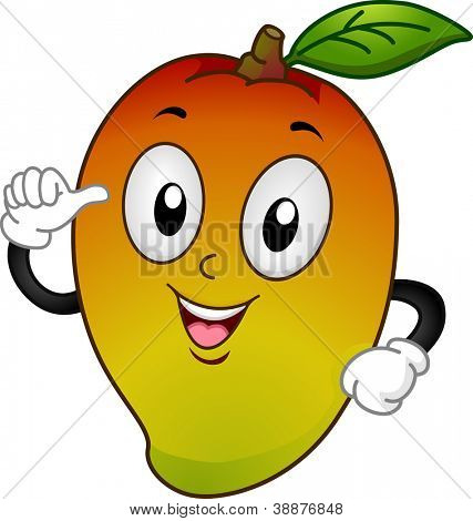 Mascot Illustration Featuring a Mango Pointing to Itself