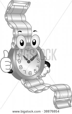 Mascot Illustration Featuring a Wristwatch Doing a Thumbs Up