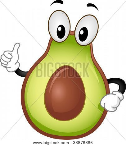 Mascot Illustration Featuring an Avocado Giving a Thumbs Up