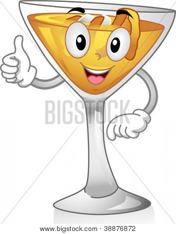 Mascot Illustration Featuring an Apple Jack Cocktail Doing a Thumbs Up