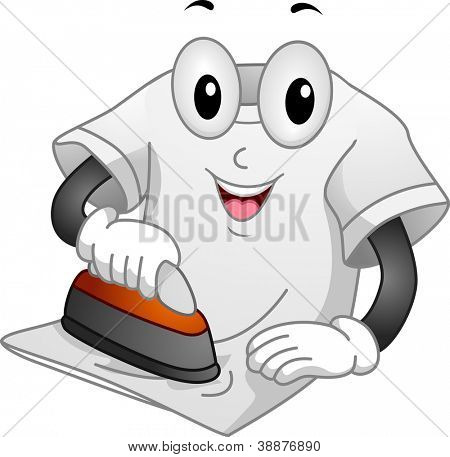Mascot Illustration Featuring a T-shirt Ironing Itself