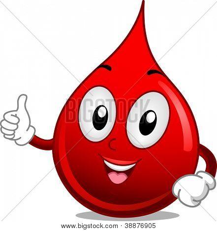 Ilustración de la mascota con una gota de sangre dando un pulgar para arriba