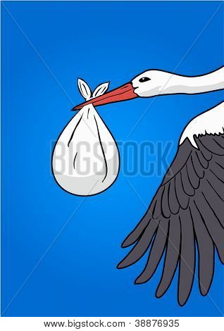 Flying stork with a bundle, vector illustration