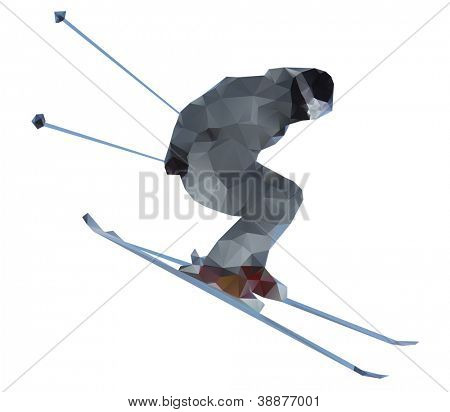 Skier isolated on a white background, vector illustration