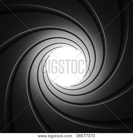 Gun Barrel seen from inside against white background