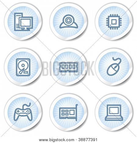 Computer web icons, light blue stickers