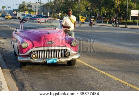 HAVANA-OCTOBER 28:Classic Buick October 28,2012 in Havana.Thousands of these cars are still in use in Cuba, mostly as privately owned taxis,with owners having to manufacture parts to keep the running