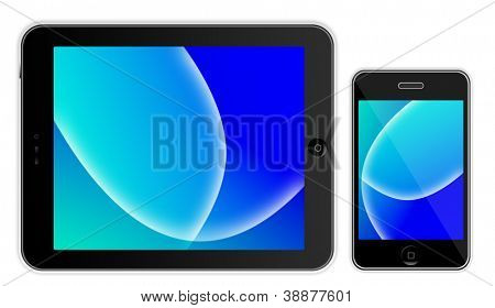 Black tablet  like Ipade and black phone  iphon like on white background