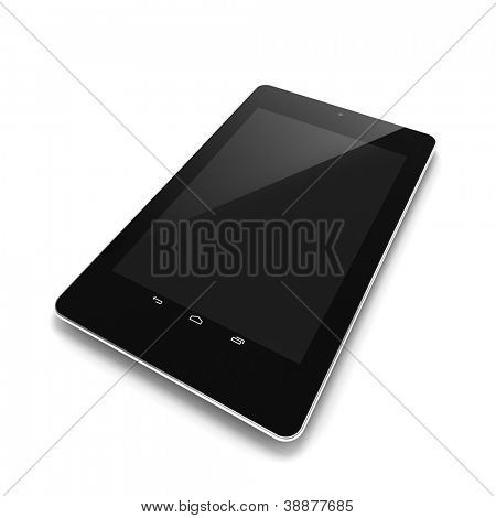 Black tablet computer with touch screen blank