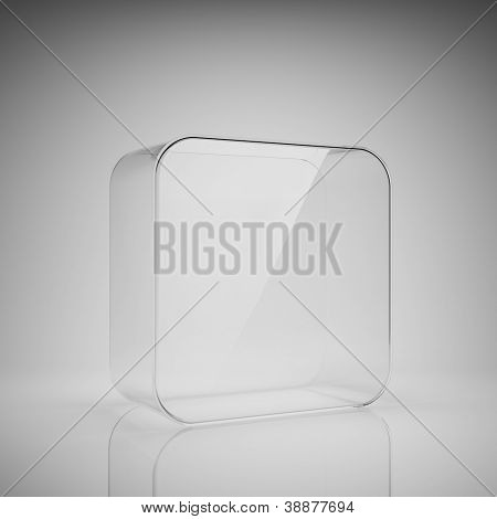 Empty glass box for exhibit