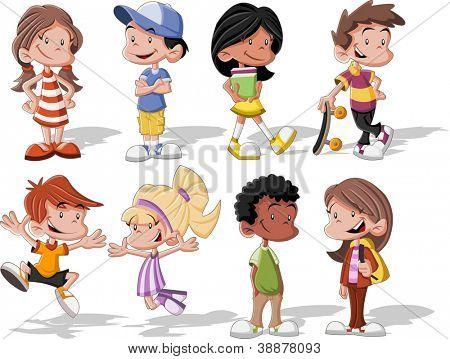 Grupo de dibujos animados lindo de feliz
