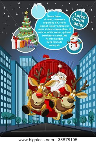 Template with Santa Claus on sleigh with reindeer flying over city on christmas night