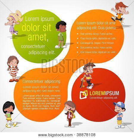 Modelo colorido para folheto de publicidade, com um grupo de crianças cute cartoon feliz jogando